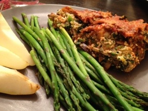Vegan Lasagna with asparagus and pears